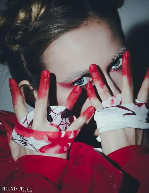 """Red Ribbon""    by Trend Prive Magazine, Duo Linn, Jade Kedrick, Alexis Allen using R+Co, Manana Saralidze"