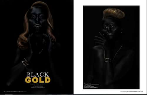AFM Magazine  BLACK GOLD   by Iván RDC Photography,  Alpha Fashion Magazine, Lady Scissors, Apropos Make Up , Koro Vélez